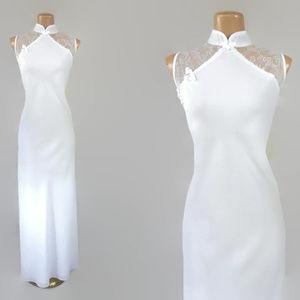 Vintage 80s White Cheongsam Maxi Dress Wedding 2X